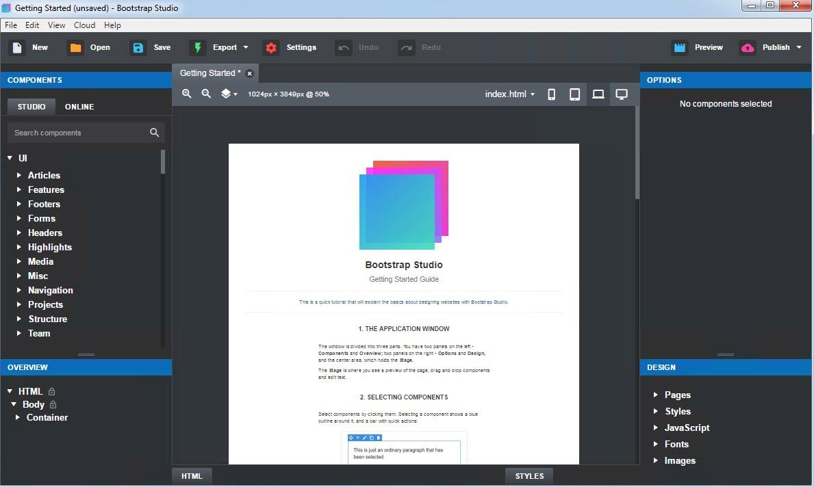 网页设计工具Bootstrap Studio v4.52正式版免费下载