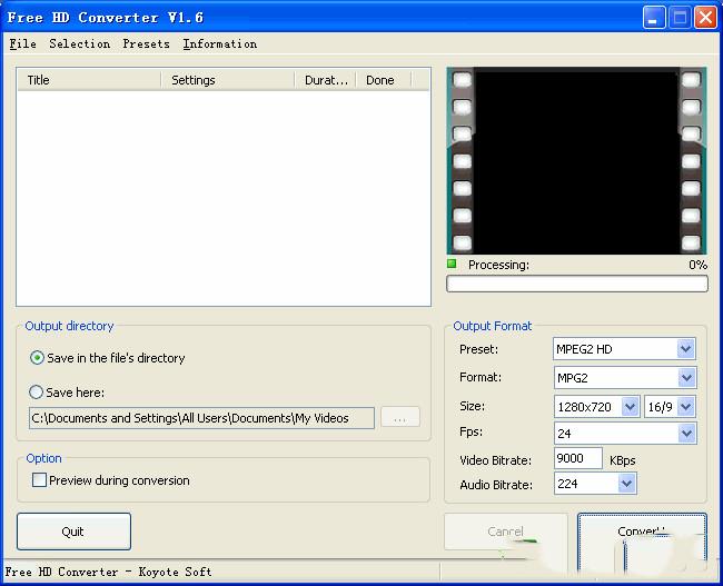 Free HD Converter(MTS格式转换工具)v2.0 绿色版